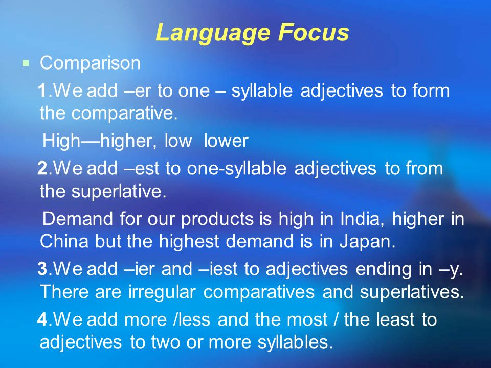 Language Focus Comparison
