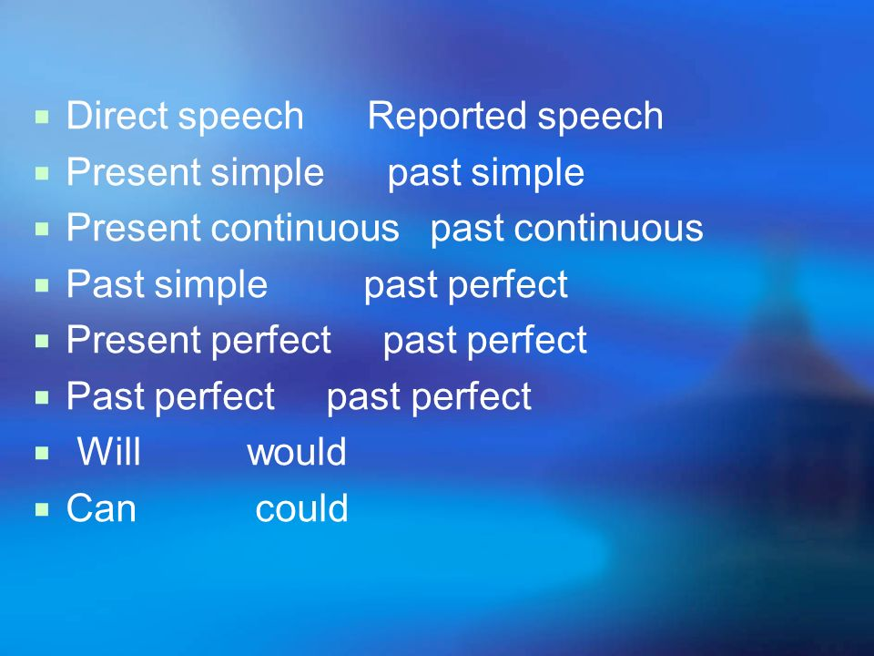 Direct speech Reported speech
