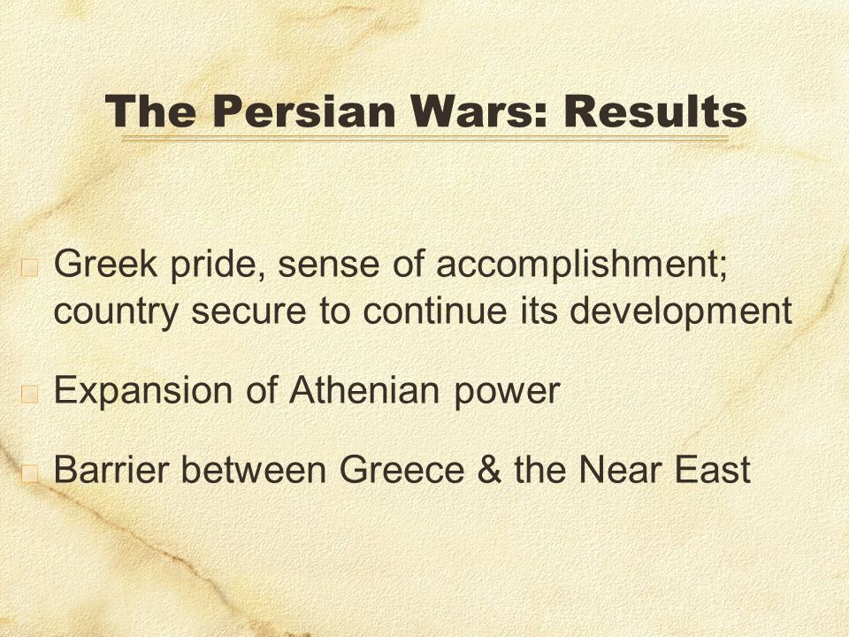 The Persian Wars: Results