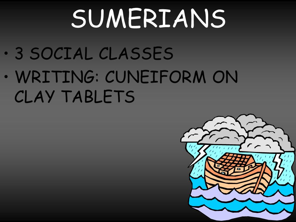 SUMERIANS 3 SOCIAL CLASSES WRITING: CUNEIFORM ON CLAY TABLETS