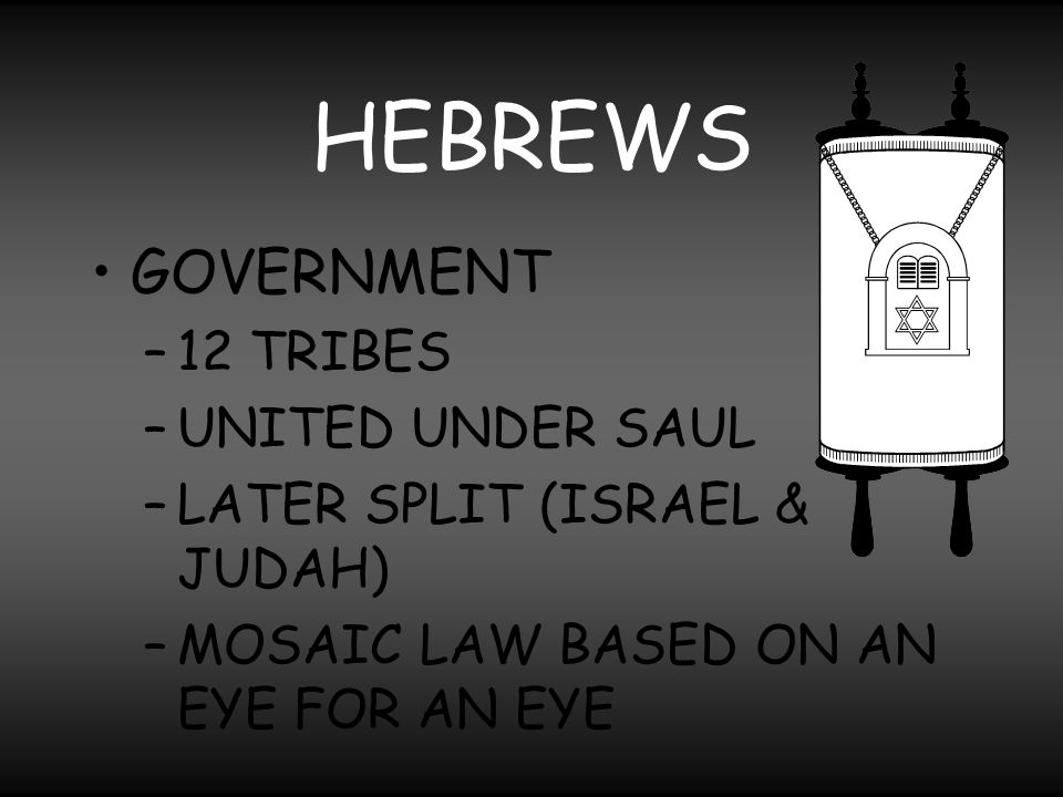 HEBREWS GOVERNMENT 12 TRIBES UNITED UNDER SAUL