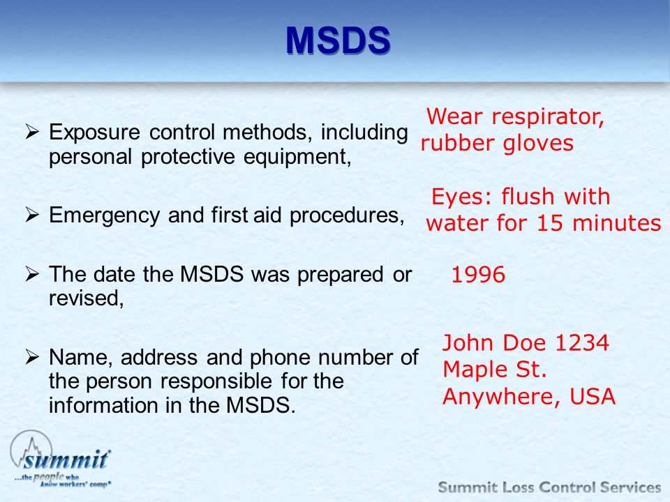 MSDS Wear respirator, rubber gloves. Exposure control methods, including personal protective equipment,