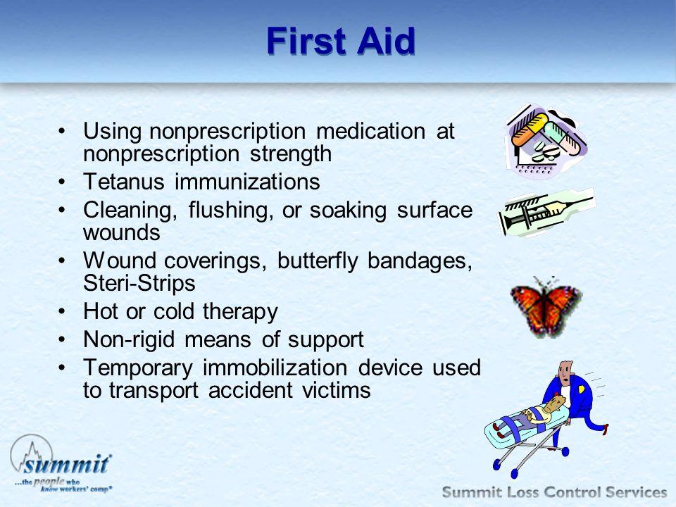 First Aid Using nonprescription medication at nonprescription strength