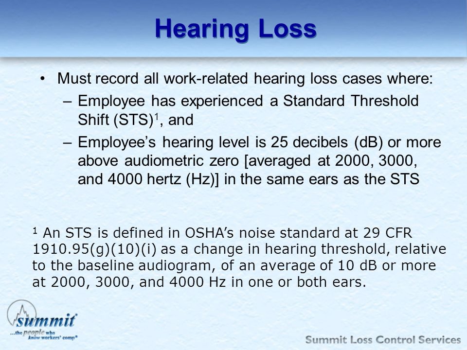 Hearing Loss Must record all work-related hearing loss cases where: