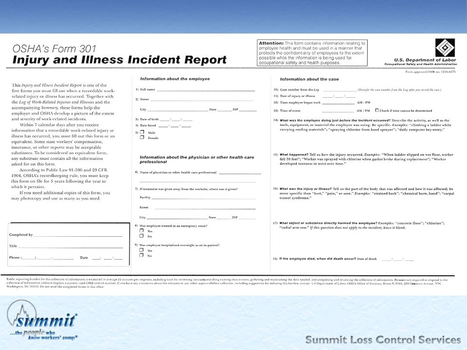 The 301 form captures data on each injury and illness (the length of service, what time the injury occurred, what time the employee started work, etc.).