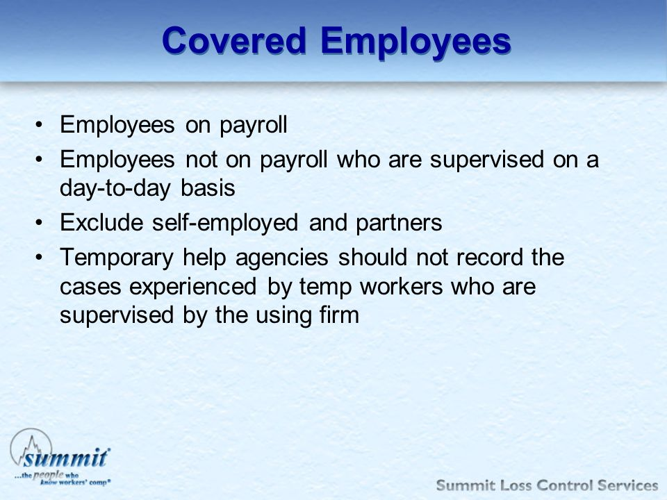 Covered Employees Employees on payroll