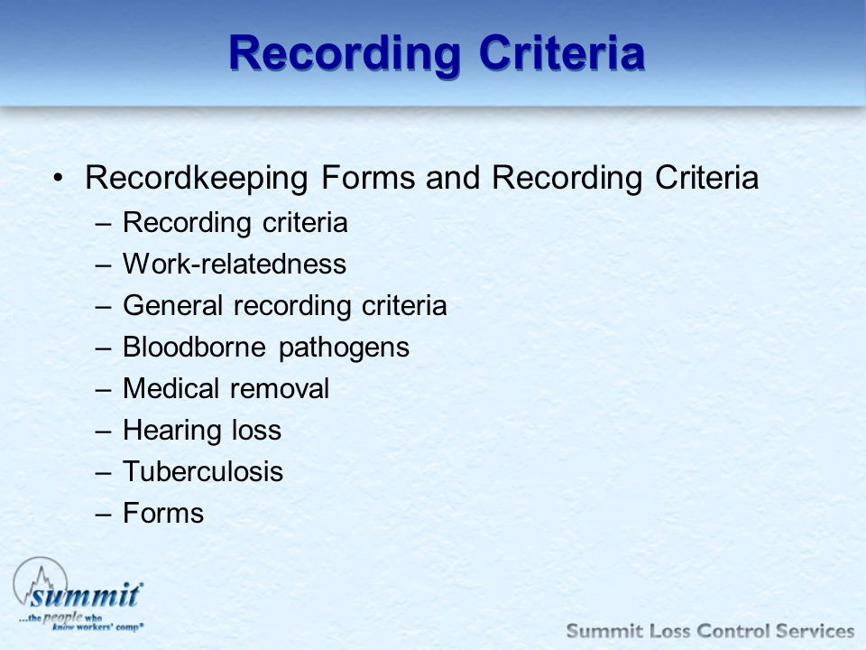 Recording Criteria Recordkeeping Forms and Recording Criteria