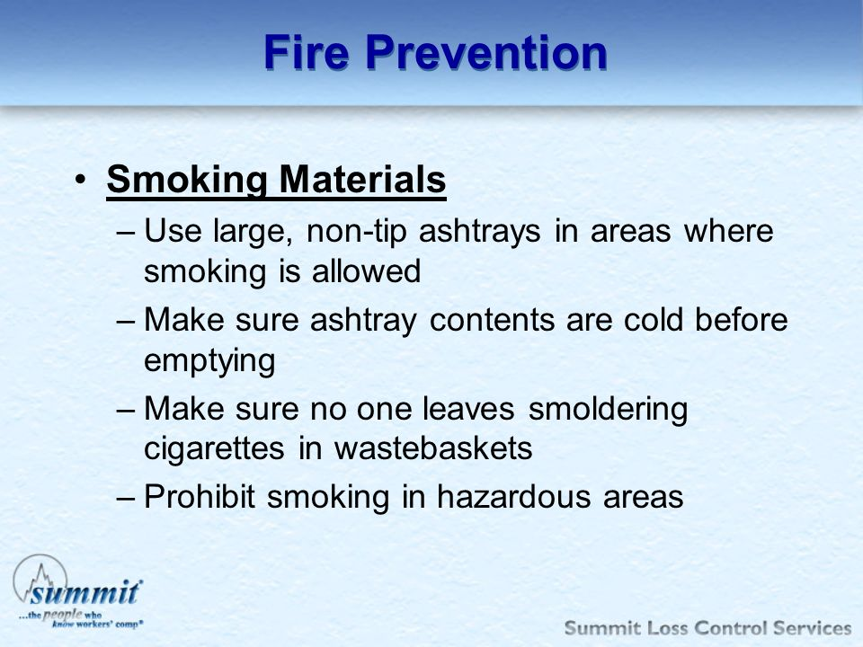 Fire Prevention Smoking Materials