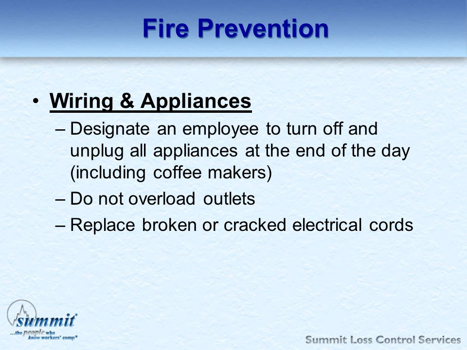 Fire Prevention Wiring & Appliances