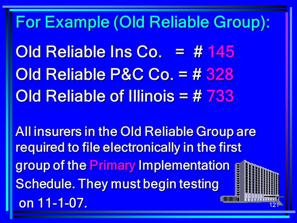 For Example (Old Reliable Group): Old Reliable Ins Co. = # 145