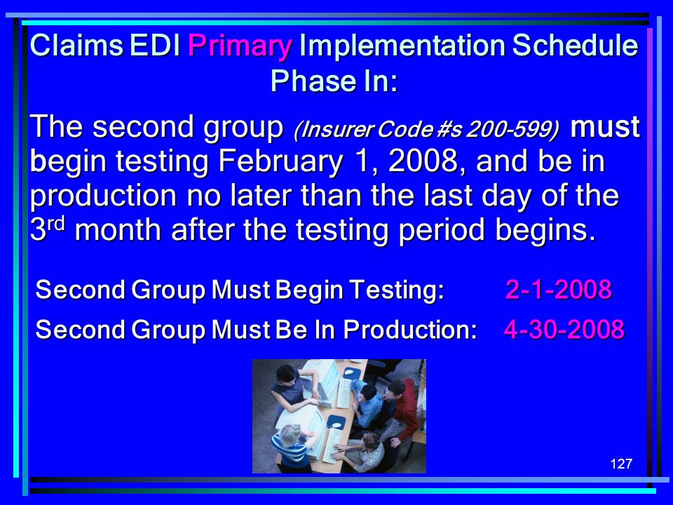 Claims EDI Primary Implementation Schedule Phase In:
