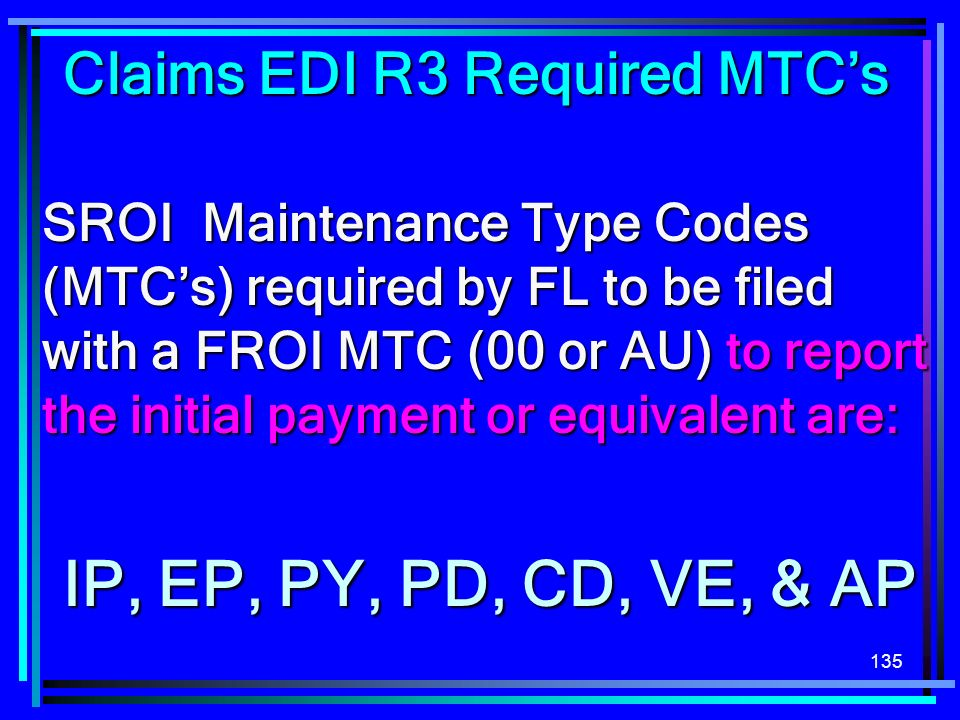 Claims EDI R3 Required MTC's