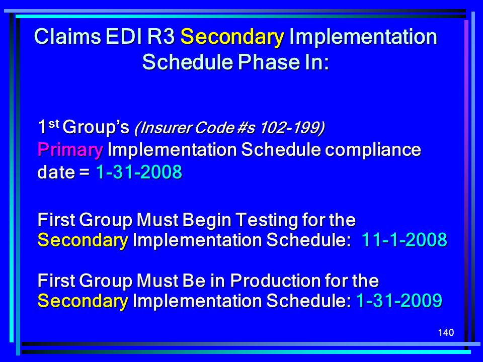 Claims EDI R3 Secondary Implementation Schedule Phase In: