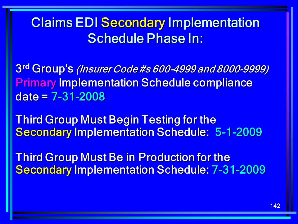 Claims EDI Secondary Implementation Schedule Phase In: