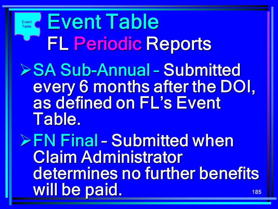 Event Table FL Periodic Reports
