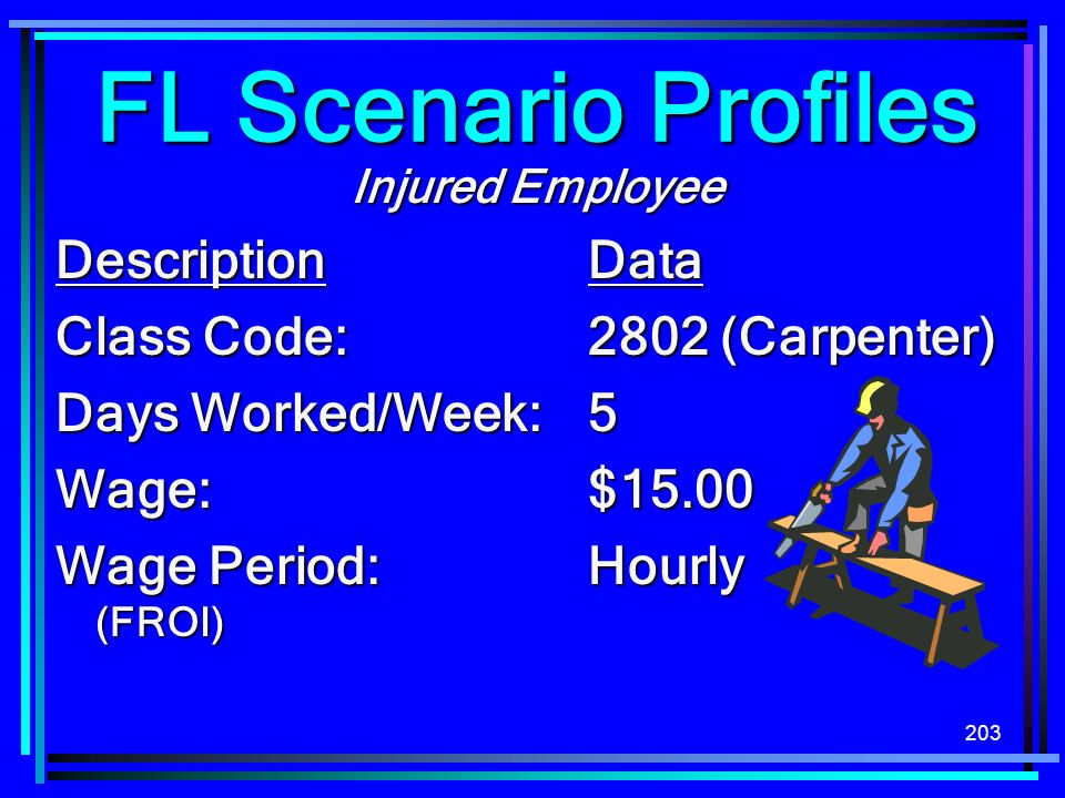 FL Scenario Profiles Description Data Class Code: 2802 (Carpenter)