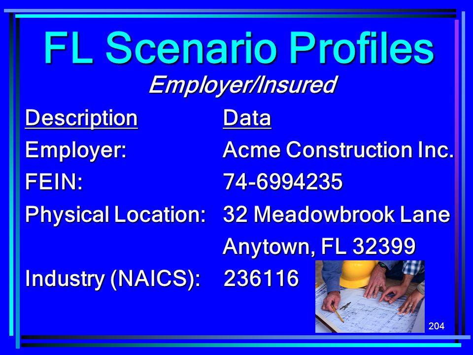 FL Scenario Profiles Employer/Insured Description Data