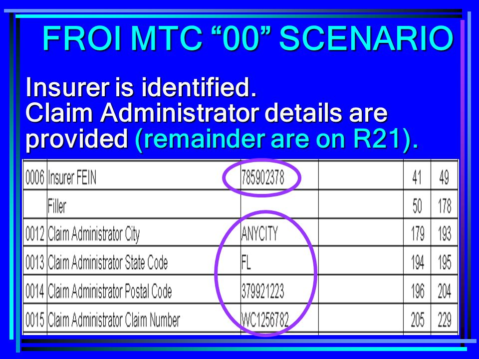 FROI MTC 00 SCENARIO Insurer is identified.