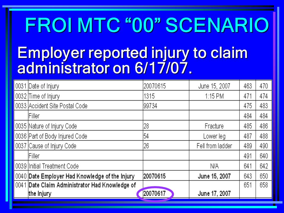 FROI MTC 00 SCENARIO Employer reported injury to claim administrator on 6/17/07.