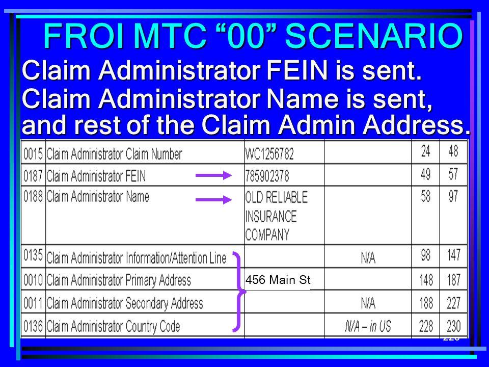 FROI MTC 00 SCENARIO Claim Administrator FEIN is sent.