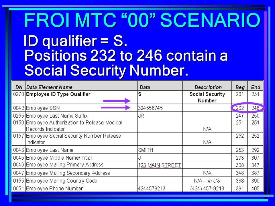 FROI MTC 00 SCENARIO ID qualifier = S.