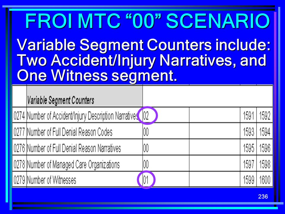 FROI MTC 00 SCENARIO Variable Segment Counters include:
