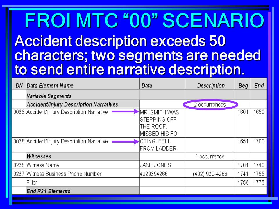 FROI MTC 00 SCENARIO Accident description exceeds 50 characters; two segments are needed to send entire narrative description.