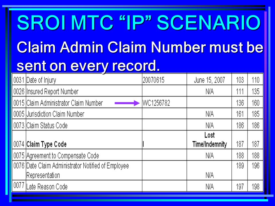 SROI MTC IP SCENARIO Claim Admin Claim Number must be sent on every record.