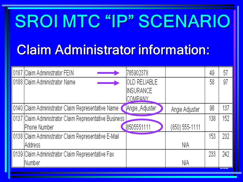 SROI MTC IP SCENARIO Claim Administrator information: