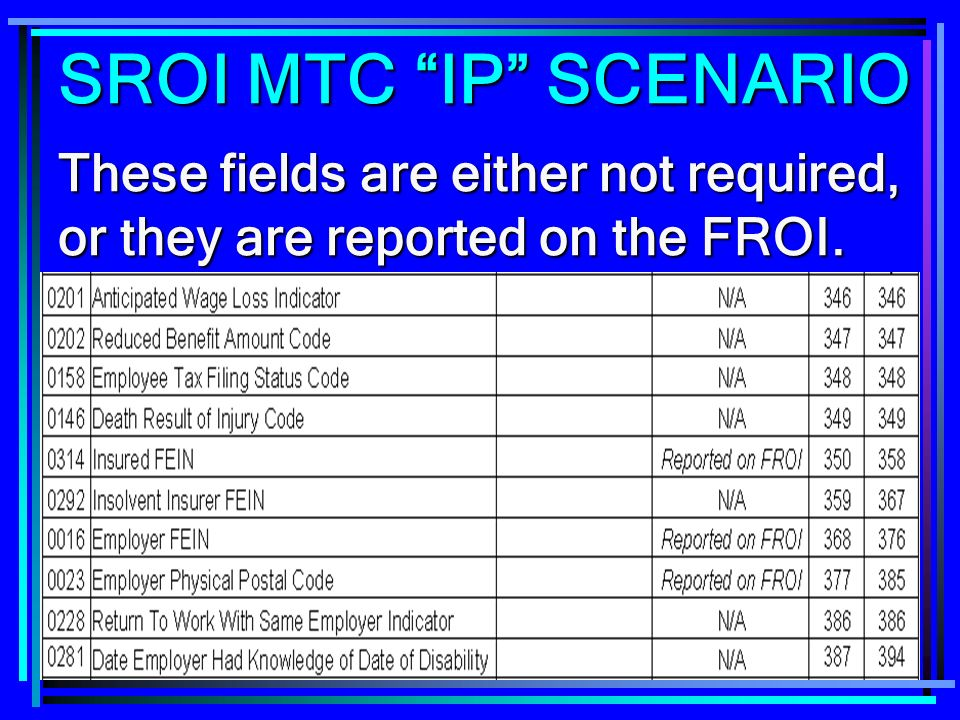 SROI MTC IP SCENARIO These fields are either not required, or they are reported on the FROI.