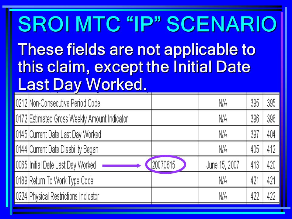 SROI MTC IP SCENARIO These fields are not applicable to this claim, except the Initial Date Last Day Worked.
