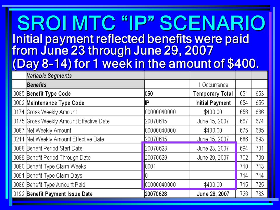 SROI MTC IP SCENARIO Initial payment reflected benefits were paid