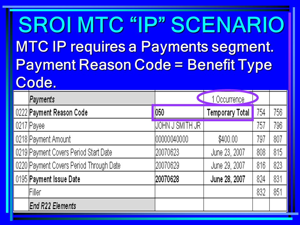 SROI MTC IP SCENARIO MTC IP requires a Payments segment.
