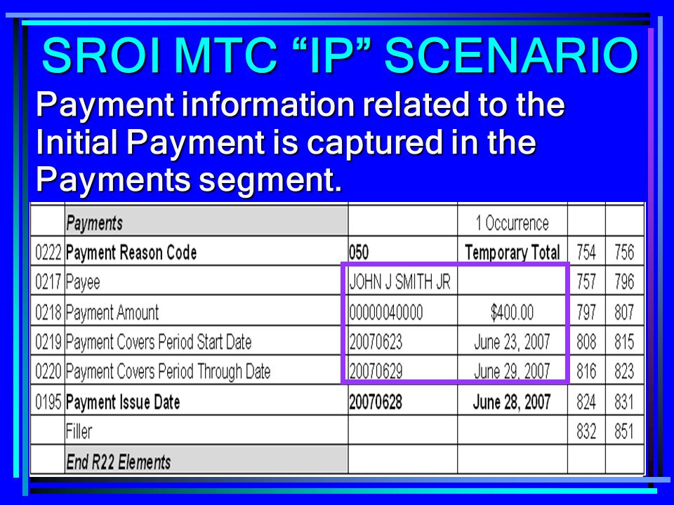 SROI MTC IP SCENARIO Payment information related to the Initial Payment is captured in the Payments segment.