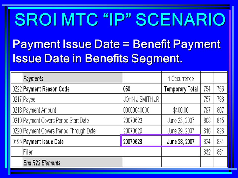 SROI MTC IP SCENARIO Payment Issue Date = Benefit Payment Issue Date in Benefits Segment.