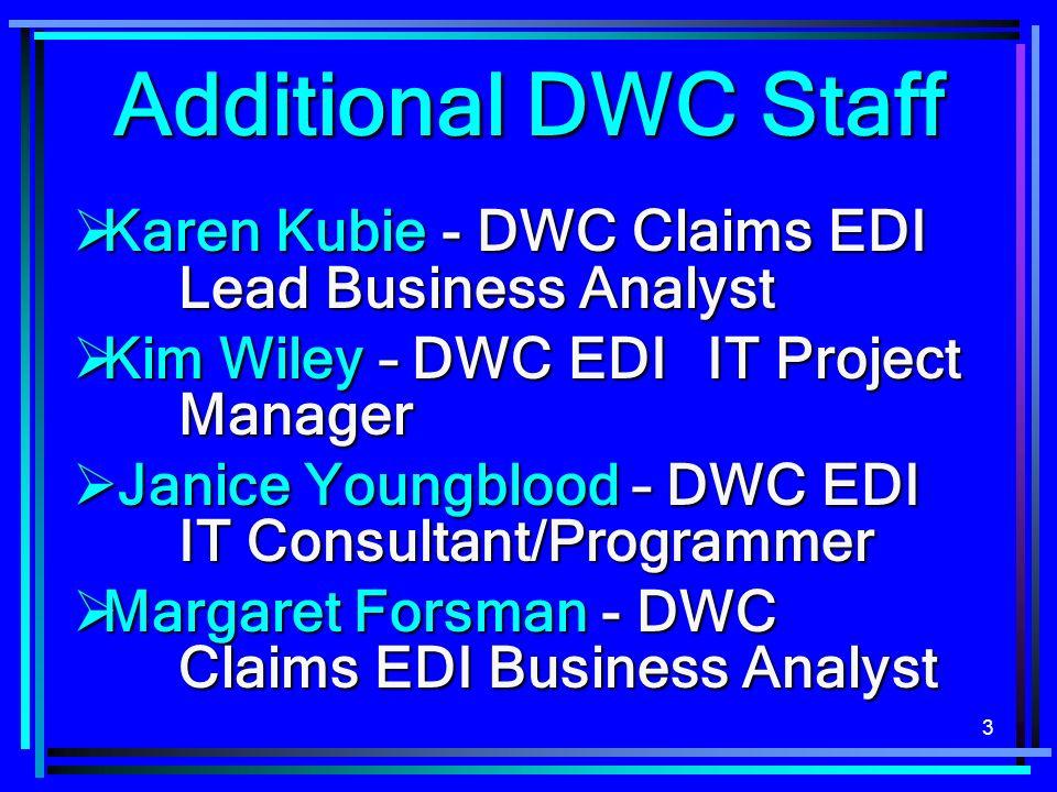 Additional DWC StaffKaren Kubie - DWC Claims EDI Lead Business Analyst. Kim Wiley – DWC EDI IT Project Manager.