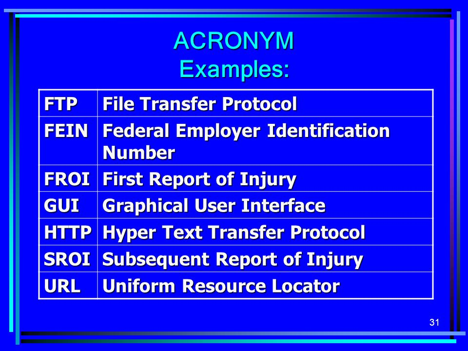 ACRONYM Examples: FTP File Transfer Protocol FEIN