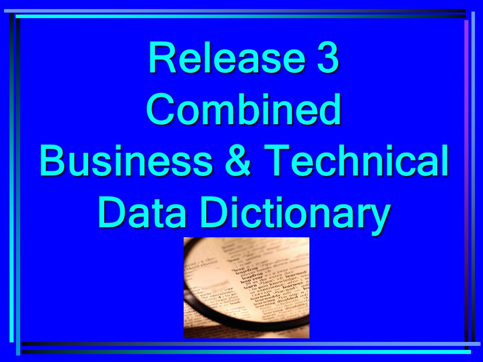 Release 3 Combined Business & Technical Data Dictionary