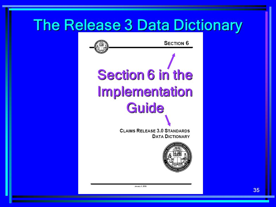 The Release 3 Data Dictionary Section 6 in the Implementation Guide