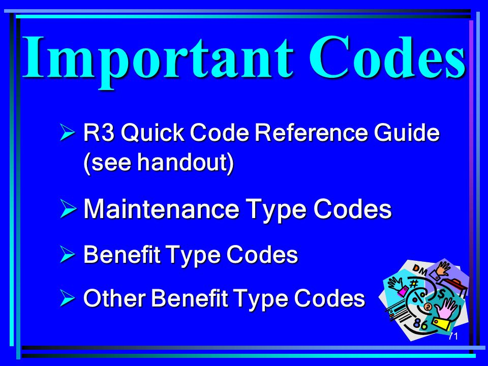 Important Codes Maintenance Type Codes