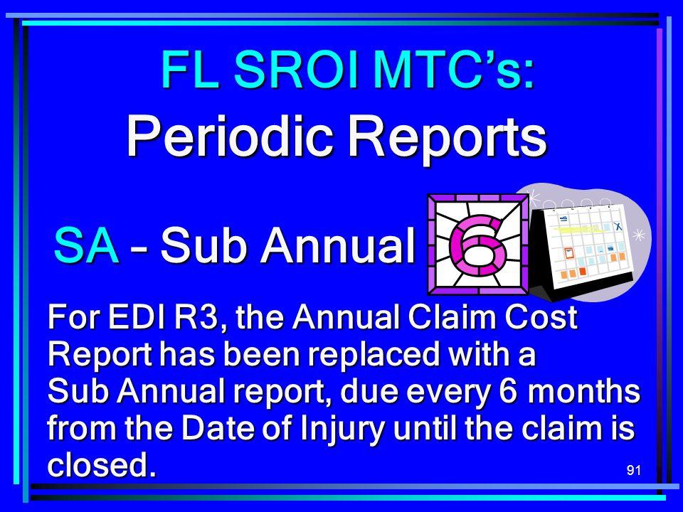 Periodic Reports FL SROI MTC's: SA – Sub Annual