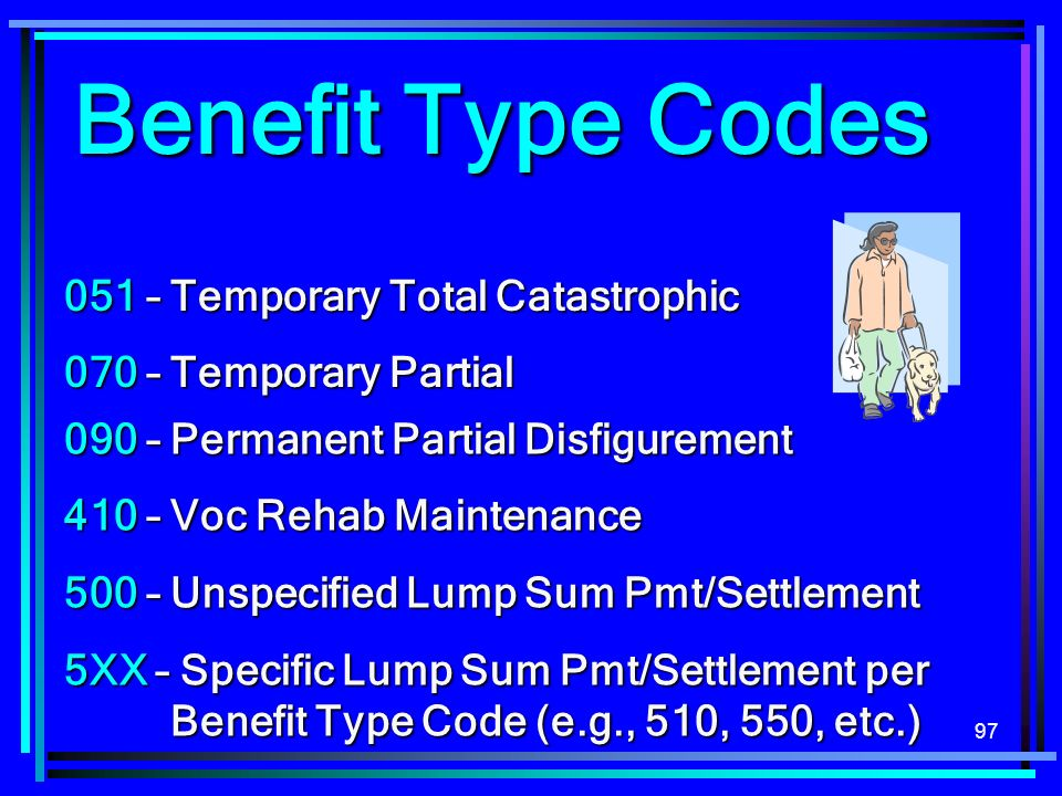 Benefit Type Codes 051 – Temporary Total Catastrophic