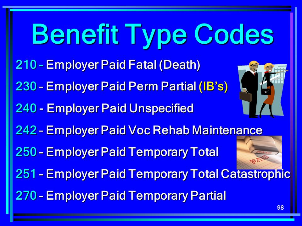 Benefit Type Codes 210 – Employer Paid Fatal (Death)