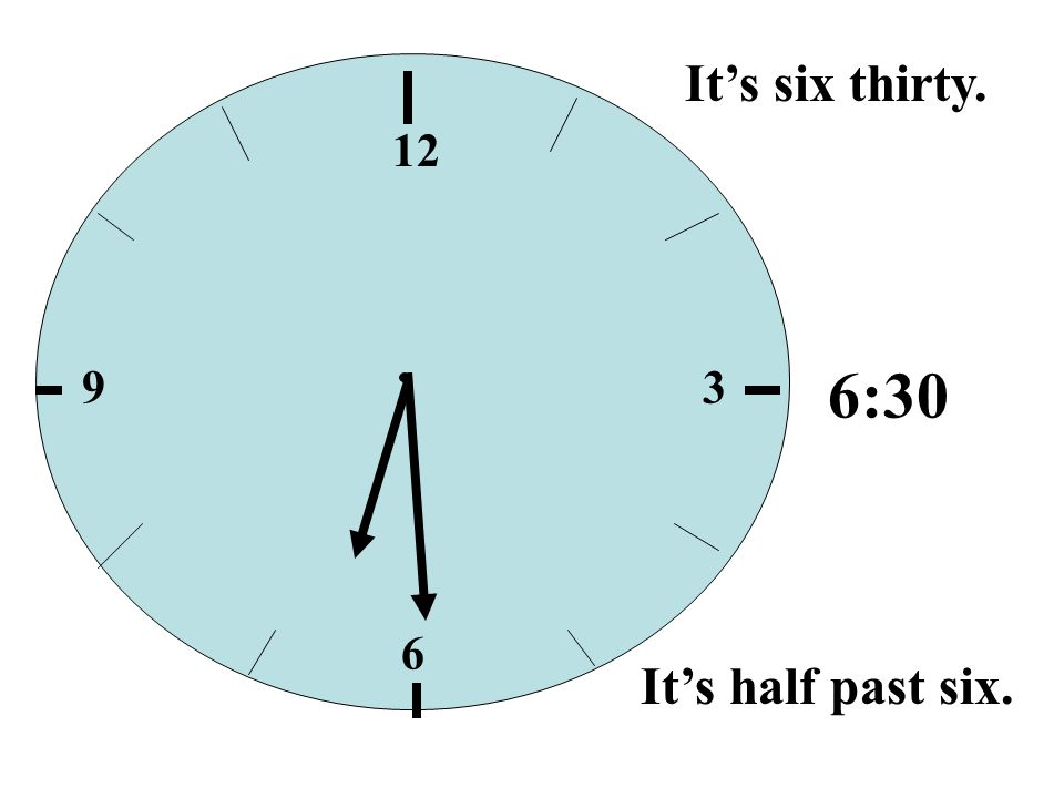 It's six thirty. 12 9 3 6:30 6 It's half past six.