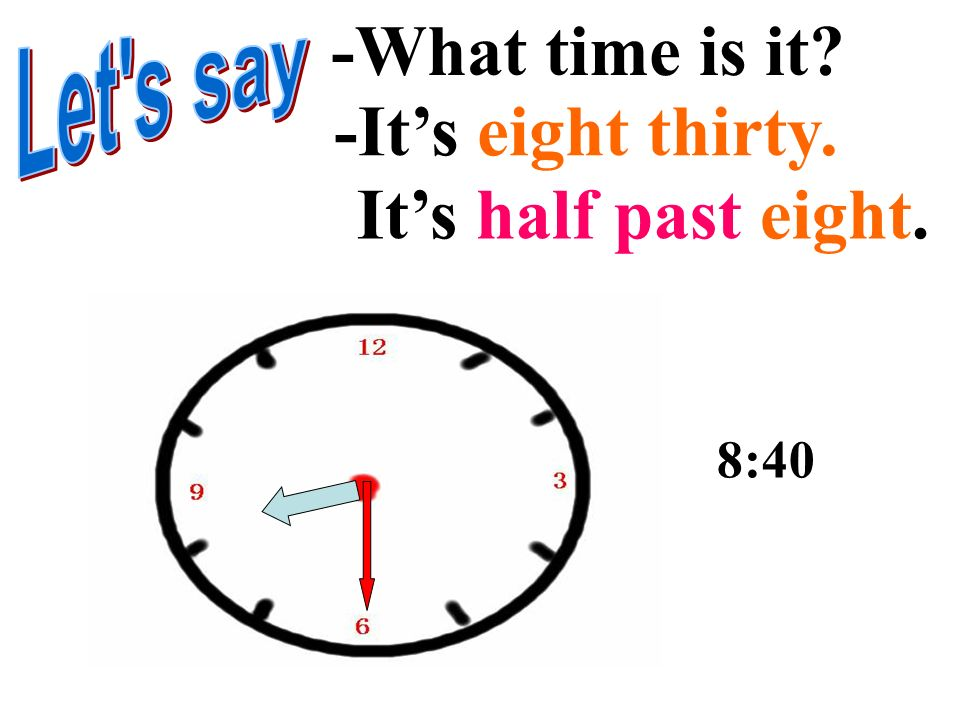 -What time is it -It's eight thirty. It's half past eight. Let s say