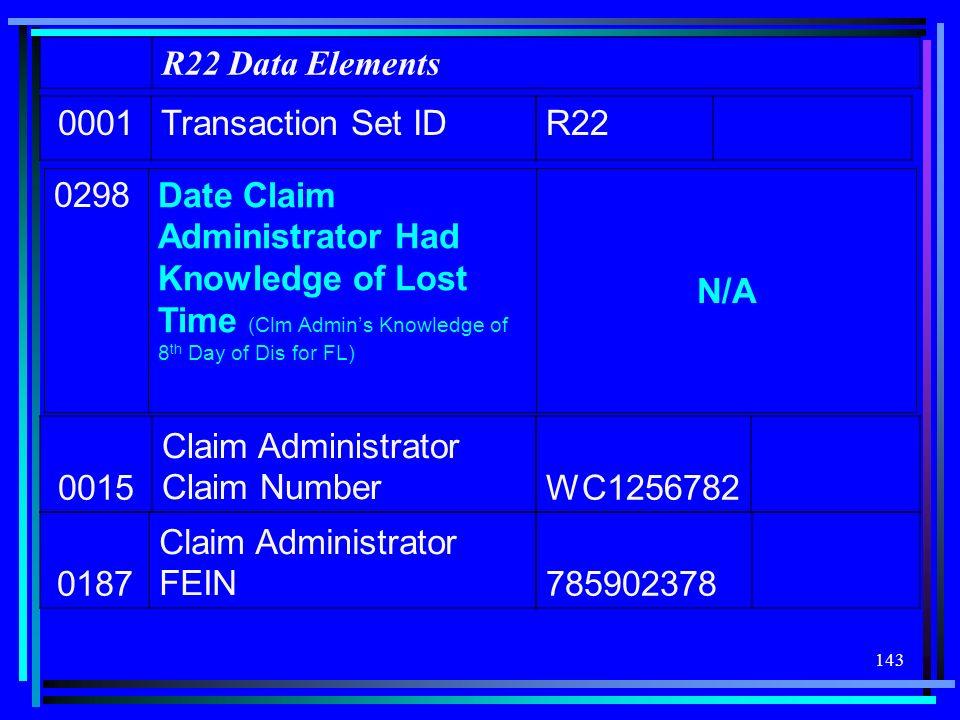 R22 Data Elements 0001. Transaction Set ID. R22. 0298.