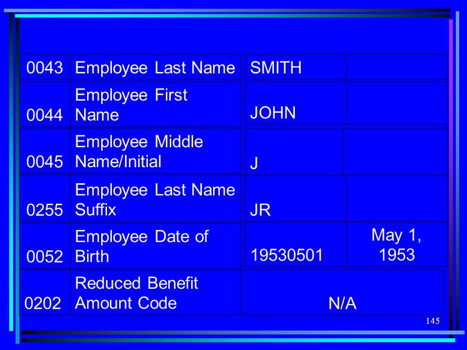 0043 Employee Last Name. SMITH. 0044. Employee First Name. JOHN. 0045. Employee Middle Name/Initial.