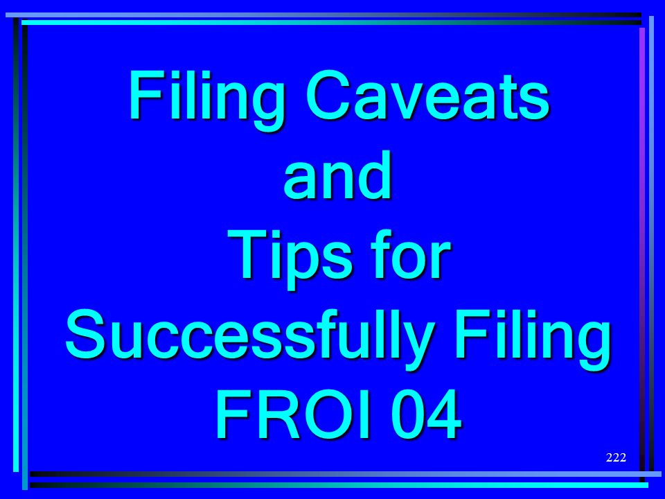 Filing Caveats and Tips for Successfully Filing FROI 04