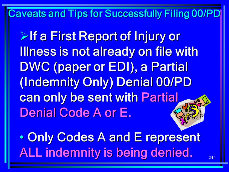 Only Codes A and E represent ALL indemnity is being denied.