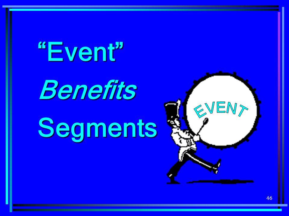 Event Benefits Segments EVENT